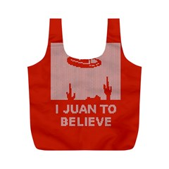 I Juan To Believe Ugly Holiday Christmas Red Background Full Print Recycle Bags (M)
