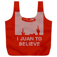 I Juan To Believe Ugly Holiday Christmas Red Background Full Print Recycle Bags (l)