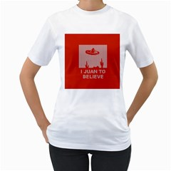 I Juan To Believe Ugly Holiday Christmas Red Background Women s T-Shirt (White)