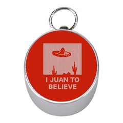 I Juan To Believe Ugly Holiday Christmas Red Background Mini Silver Compasses