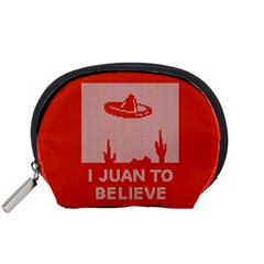I Juan To Believe Ugly Holiday Christmas Red Background Accessory Pouches (Small)