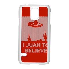 I Juan To Believe Ugly Holiday Christmas Red Background Samsung Galaxy S5 Case (White)