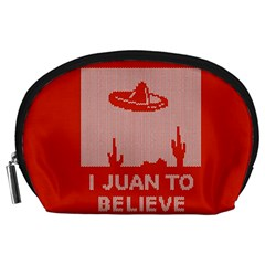 I Juan To Believe Ugly Holiday Christmas Red Background Accessory Pouches (Large)