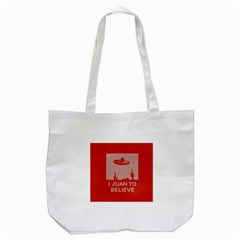 I Juan To Believe Ugly Holiday Christmas Red Background Tote Bag (White)