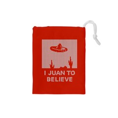 I Juan To Believe Ugly Holiday Christmas Red Background Drawstring Pouches (Small)