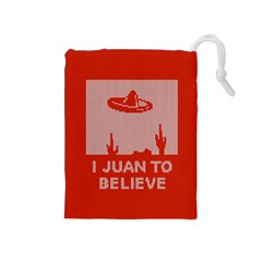 I Juan To Believe Ugly Holiday Christmas Red Background Drawstring Pouches (Medium)