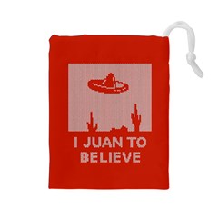 I Juan To Believe Ugly Holiday Christmas Red Background Drawstring Pouches (Large)