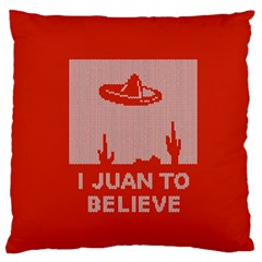 I Juan To Believe Ugly Holiday Christmas Red Background Standard Flano Cushion Case (One Side)