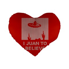 I Juan To Believe Ugly Holiday Christmas Red Background Standard 16  Premium Flano Heart Shape Cushions