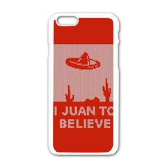 I Juan To Believe Ugly Holiday Christmas Red Background Apple iPhone 6/6S White Enamel Case