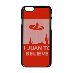 I Juan To Believe Ugly Holiday Christmas Red Background Apple iPhone 6/6S Black Enamel Case