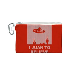 I Juan To Believe Ugly Holiday Christmas Red Background Canvas Cosmetic Bag (S)