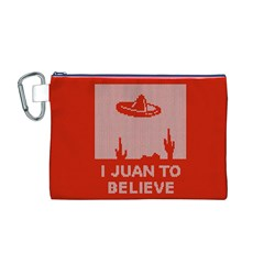 I Juan To Believe Ugly Holiday Christmas Red Background Canvas Cosmetic Bag (M)