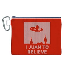 I Juan To Believe Ugly Holiday Christmas Red Background Canvas Cosmetic Bag (L)