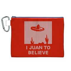 I Juan To Believe Ugly Holiday Christmas Red Background Canvas Cosmetic Bag (XL)