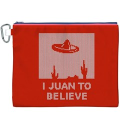 I Juan To Believe Ugly Holiday Christmas Red Background Canvas Cosmetic Bag (XXXL)