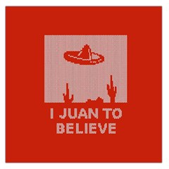 I Juan To Believe Ugly Holiday Christmas Red Background Large Satin Scarf (Square)