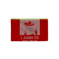 I Juan To Believe Ugly Holiday Christmas Red Background Cosmetic Bag (XS)