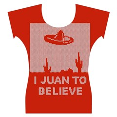 I Juan To Believe Ugly Holiday Christmas Red Background Women s Cap Sleeve Top