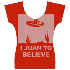 I Juan To Believe Ugly Holiday Christmas Red Background Women s V-Neck Cap Sleeve Top