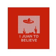 I Juan To Believe Ugly Holiday Christmas Red Background Small Satin Scarf (Square)