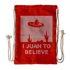 I Juan To Believe Ugly Holiday Christmas Red Background Drawstring Bag (Large)
