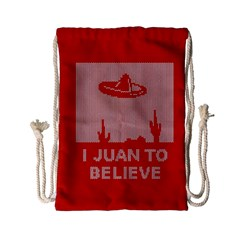 I Juan To Believe Ugly Holiday Christmas Red Background Drawstring Bag (Small)