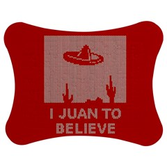 I Juan To Believe Ugly Holiday Christmas Red Background Jigsaw Puzzle Photo Stand (Bow)