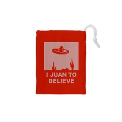 I Juan To Believe Ugly Holiday Christmas Red Background Drawstring Pouches (XS)