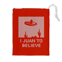 I Juan To Believe Ugly Holiday Christmas Red Background Drawstring Pouches (Extra Large)