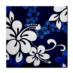 Blue Hibiscus Tile Coasters