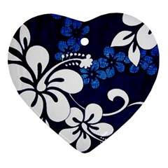 Blue Hibiscus Ornament (Heart)