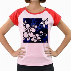 Blue Hibiscus Women s Cap Sleeve T-Shirt