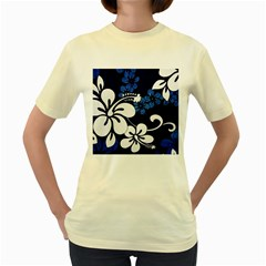 Blue Hibiscus Women s Yellow T-Shirt