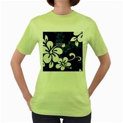 Blue Hibiscus Women s Green T-Shirt