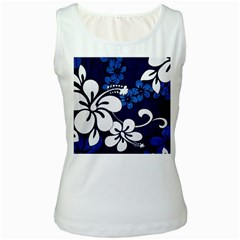 Blue Hibiscus Women s White Tank Top