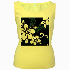 Blue Hibiscus Women s Yellow Tank Top