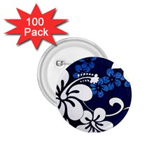 Blue Hibiscus 1.75  Buttons (100 pack)