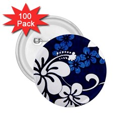Blue Hibiscus 2.25  Buttons (100 pack)