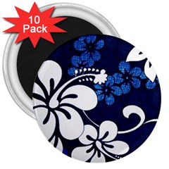 Blue Hibiscus 3  Magnets (10 pack)