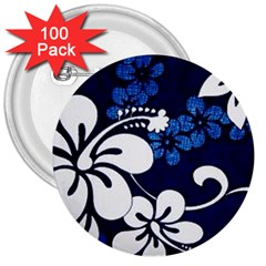 Blue Hibiscus 3  Buttons (100 pack)