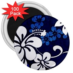 Blue Hibiscus 3  Magnets (100 pack)