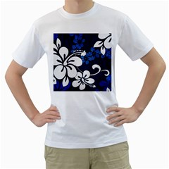 Blue Hibiscus Men s T-Shirt (White) (Two Sided)