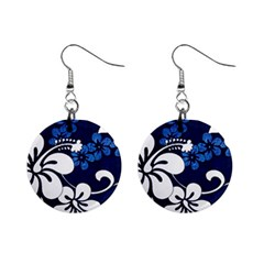 Blue Hibiscus Mini Button Earrings