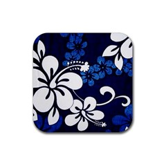 Blue Hibiscus Rubber Coaster (Square)