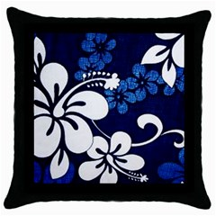 Blue Hibiscus Throw Pillow Case (Black)
