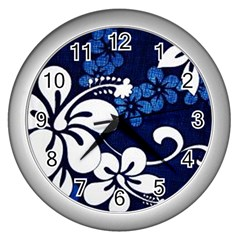 Blue Hibiscus Wall Clocks (Silver)
