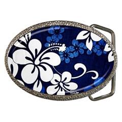 Blue Hibiscus Belt Buckles