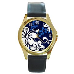 Blue Hibiscus Round Gold Metal Watch