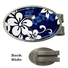 Blue Hibiscus Money Clips (Oval)